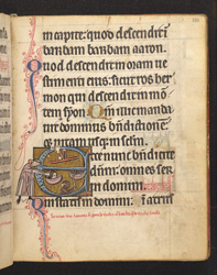 Historiated Initial With A Recluse Watching St. Lawrence From His Cell, In 'The De Brailes Hours'